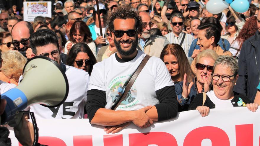 Spiriman encabezando la manifestación de este 20 de octubre
