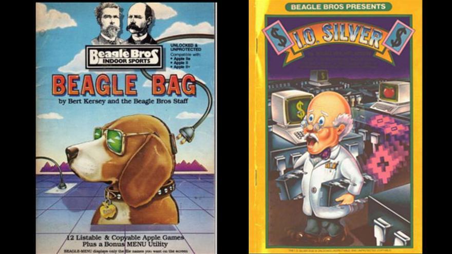 Dos cátalogos de Beagle Bros, uno de la colección de juegos Beagle Bag y otro de 'I.O. Silver'
