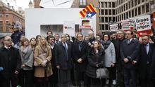 Francesc Homs, acompañado entre otros por Artur Mas, Raül Romeva y Neus Munté, de camino a la sede del Tribunal Supremo