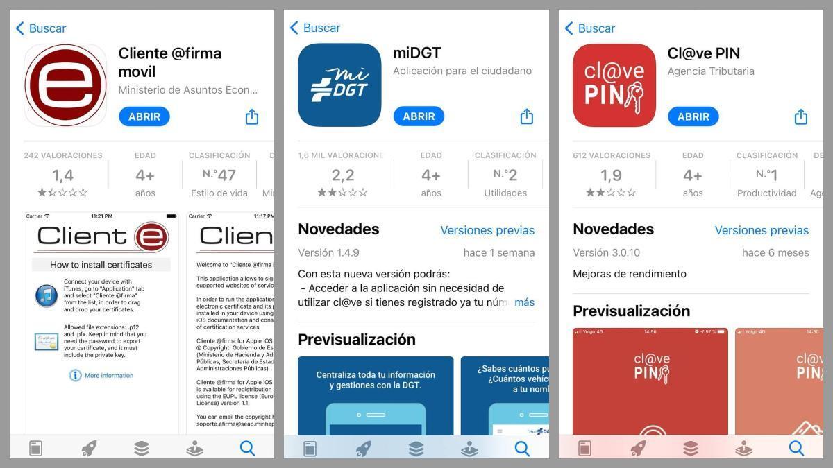 Valoraciones de las apps públicas cliente @firma movil, miDGT y Cl@ve PIN en la App Store