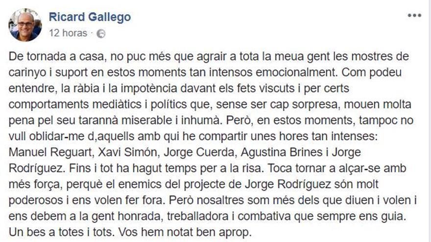 La publicación de Ricard Gallego en su perfil de facebook