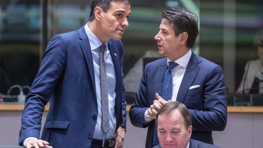 From left to right: Mr Pedro SANCHEZ, Spanish Prime Minister; Mr Giuseppe CONTE, Italian Prime Minister; Mr Stefan LOFVEN, Swedish Prime Minister.