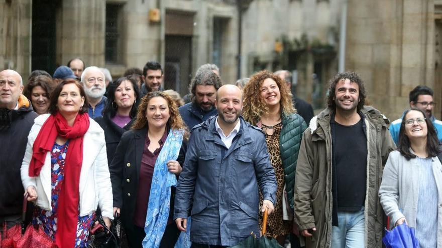 Luís Villares y otros miembros de su candidatura a las elecciones internas de En Marea