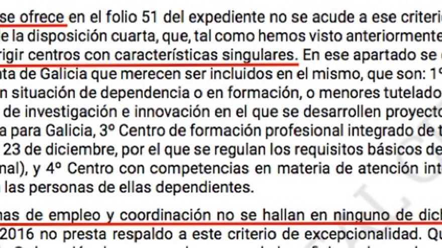 Fragmento de la sentencia del Tribunal Superior de Justicia de Galicia