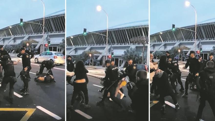 Fotos de los enfrentamientos entre los manifestantes contra Vox y la policía.