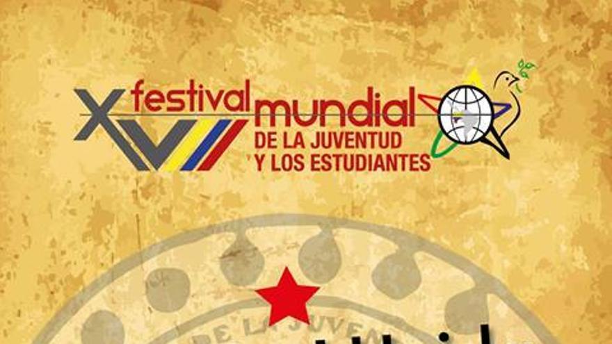 Cartel del XVIII Festival Mundial de la Juventud y los Estudiantes, en Quito (Ecuador).