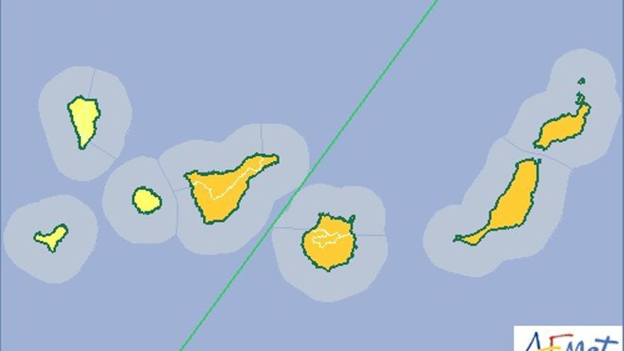 Mapa de aviso de riesgo por altas temperaturas de la Aemet para este martes, 12 de mayo.