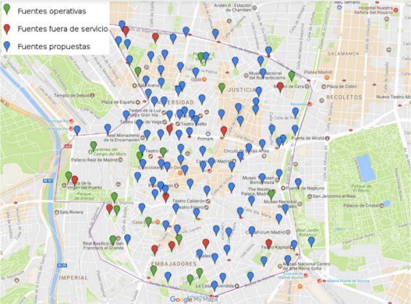 Plano de fuentes propuestas por Ecologistas en Acción para el Distrito Centro