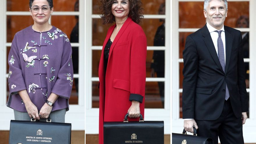 Arancha González Laya, ministra de exteriores, Unión Europea y cooperación, María Jesús Montero, Ministra de Haciencia y Fernando Grande-Marlaska, ministro de Interior