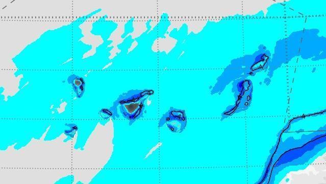 Mapa de la variación de temperaturas prevista para este fin de semana en Canarias AEMET