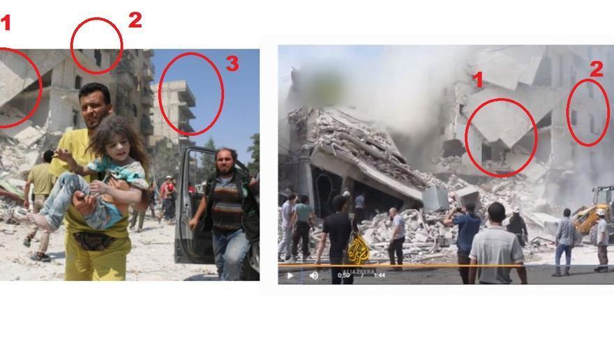 Comparación de la fachada del edificio: es el mismo momento.