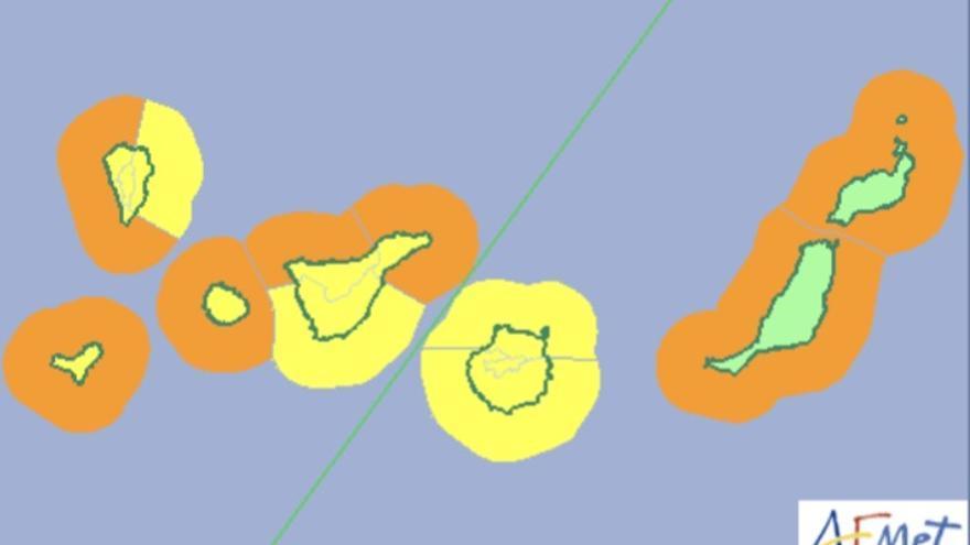 Mapa de la Aemet de los avisos de riesgo por viento y oleaje en Canarias este jueves, 1 de marzo.