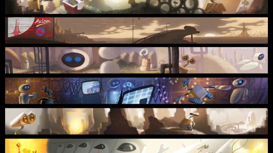 Colorscript o paleta de color un día de trabajo (WALL·E, 2008), hecha por Ralph Eggleston mediante ilustración digital. / Disney/Pixar