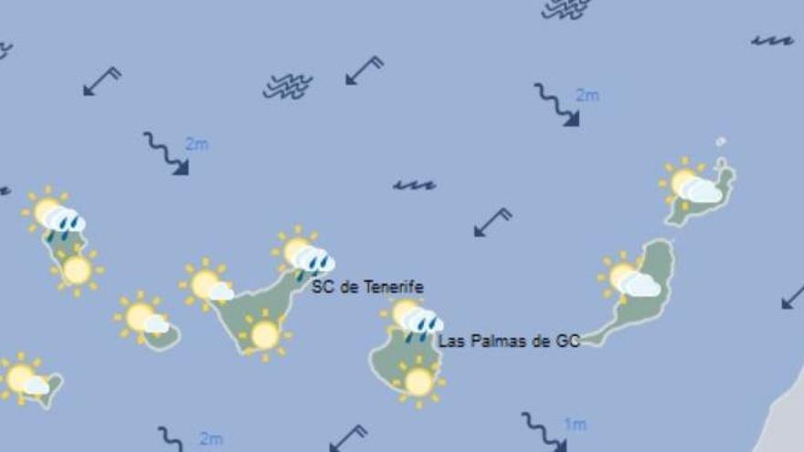 Mapa de la previsión meteorológica para el lunes, 4 de marzo