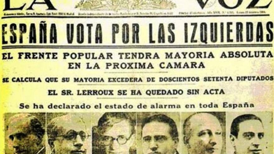 Periódico de la época, anunciando la victoria del Frente Popular