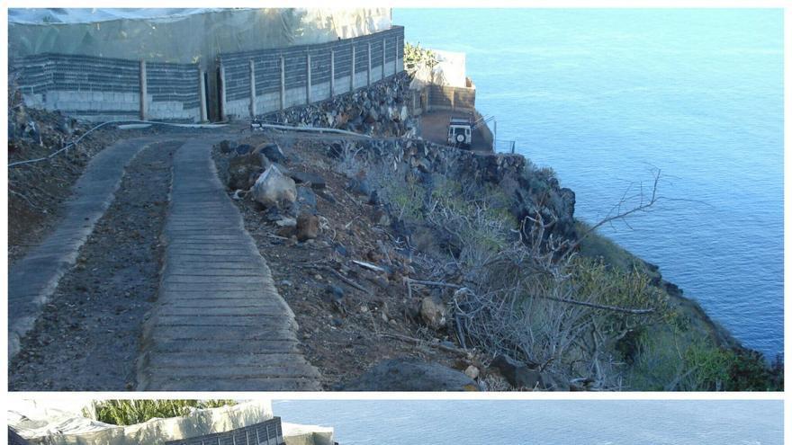Antes y después de la obra de mejora del acceso por Camino La Ermita al Pozo de Tinizara.