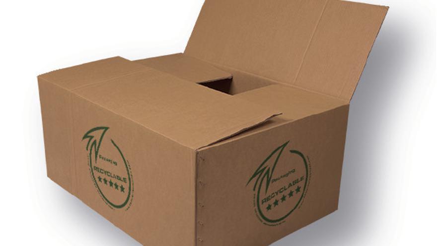 Caja de cartón con sello de cinco estrellas de reciclabilidad de la empresa Dríade SM.