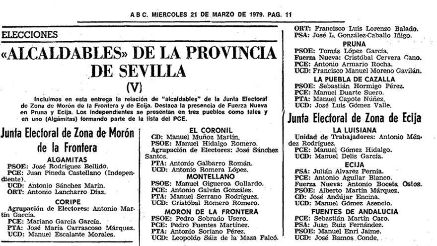 Alcaldables en Pruna para abril del 79. | HEMEROTECA DE ABC DE SEVILLA