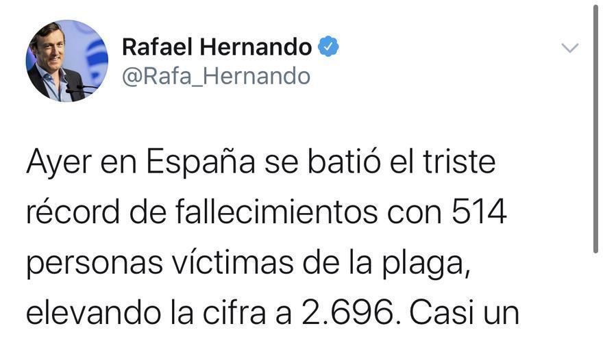 Tuit de Rafael Hernando, senador del Partido Popular.