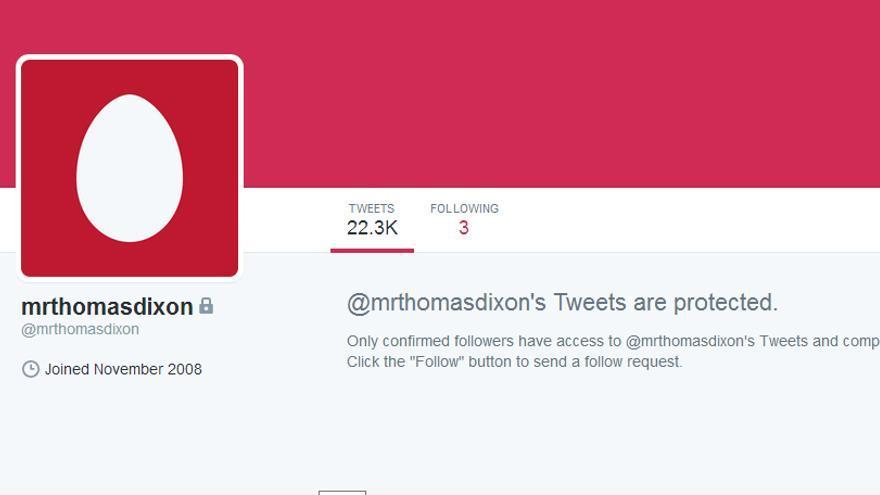 El perfil privado de Thomas Dixon,  que finalmente ha decidido cerrar