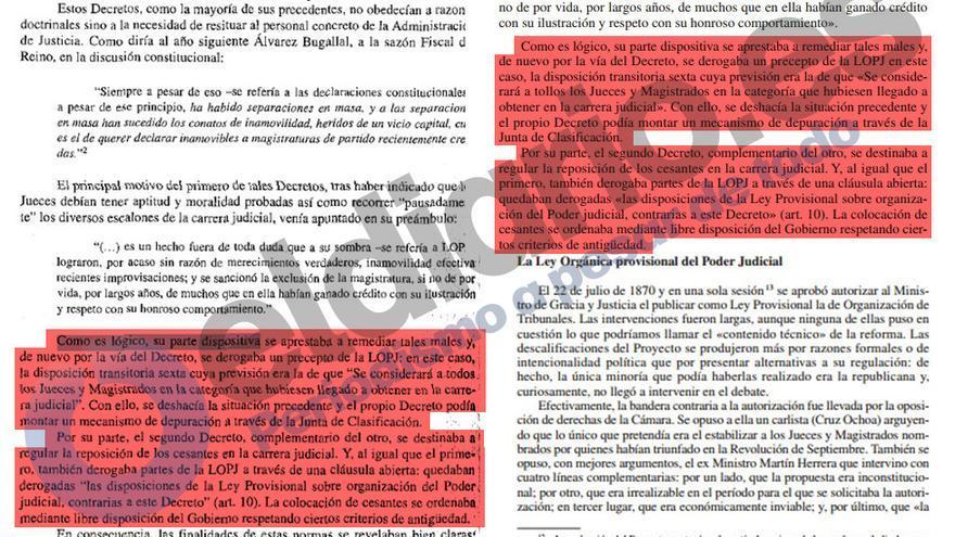 Extracto de ambos textos, original y copia