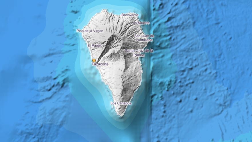 Imagen del IGN del lugar donde se ha registrado el sismo este sábado en el municipio de Tazacorte.
