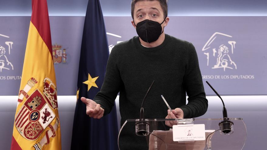 El líder de Más País, Íñigo Errejón, interviene durante una rueda de prensa anterior a una Junta de Portavoces convocada en el Congreso de los Diputados, en Madrid, (España), a 23 de marzo de 2021.