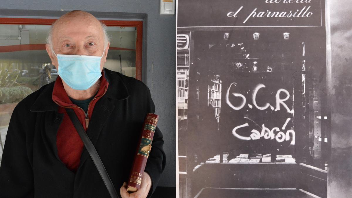 Javier López de Munáin, dueño de El Parnasillo, y una imagen de uno de los ataques que sufrió la librería.