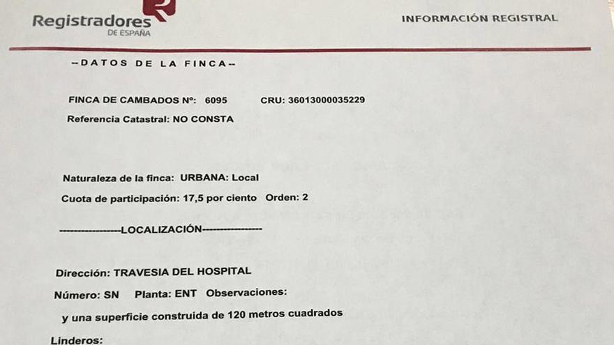 Certificado del Registro de la Propiedad divulgado por Somos Cambados con el nombre de Vicente Otero como propietario del 20% del inmueble que ocupa la sede del PP