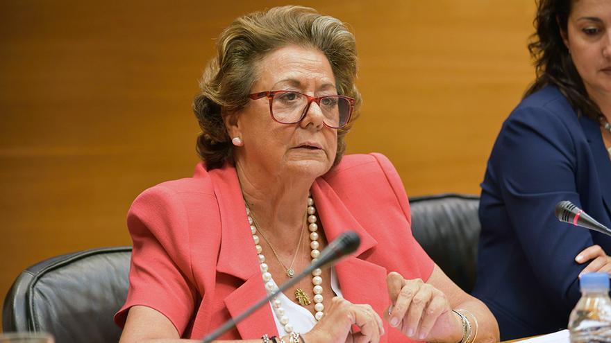 La senadora valenciana Rita Barberá durante su última comparecencia en las Corts