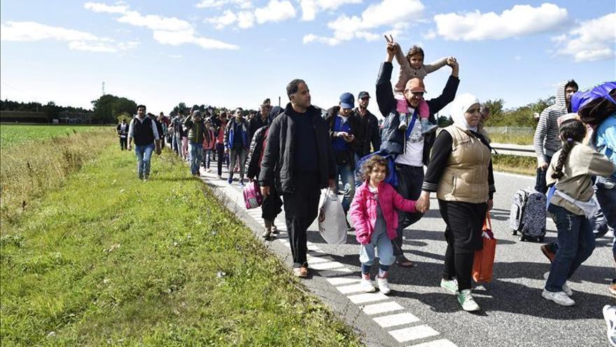 Un grupo de refugiados, principalmente sirios, caminan por una autovía del norte de Dinamarca, el 7 de septiembre del 2015, para llegar a Suecia y pedir asilo. / EFE.