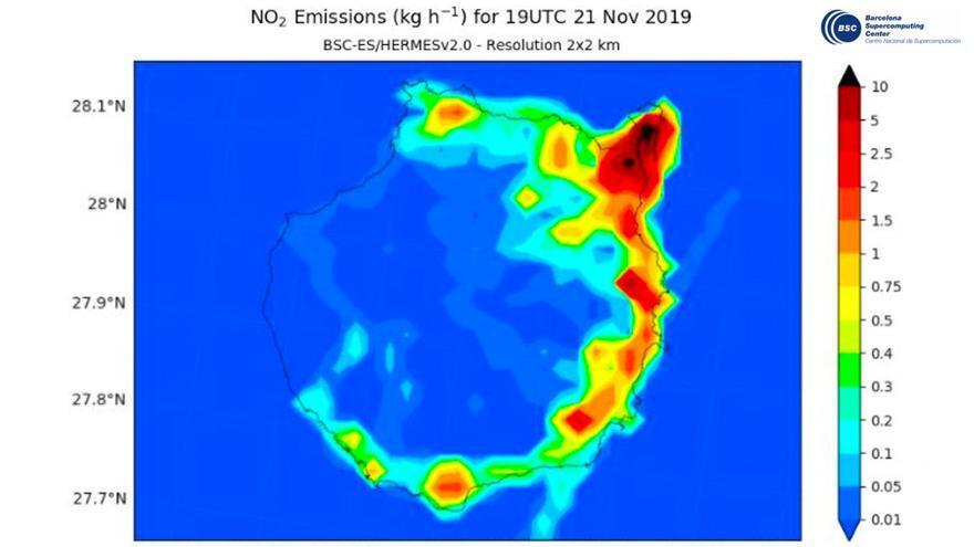 Imagen de noviembre, con viento Noreste, el más habitual, que provoca que la contaminación (más oscura en el mapa) sea más elevada sobre la ciudad cercana al puerto