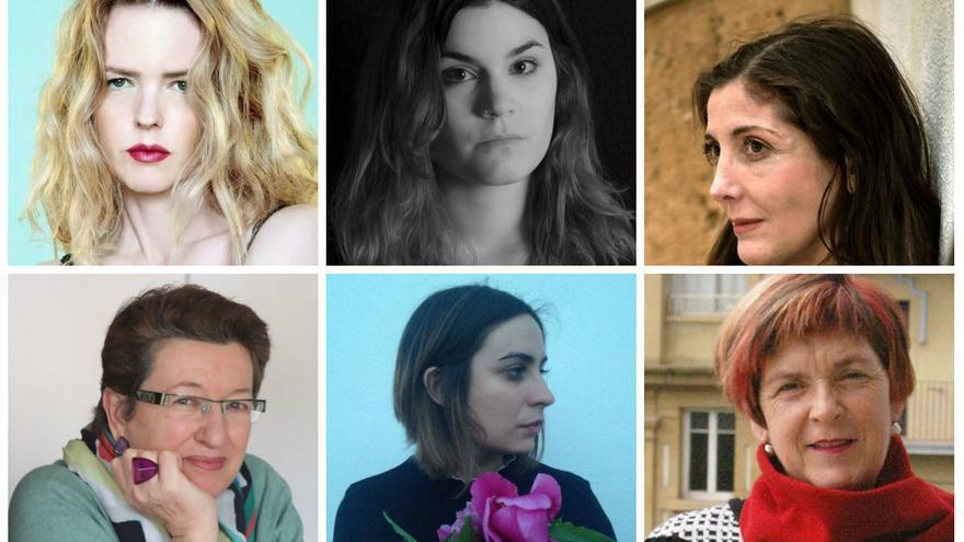 Goitik behera eta ezkerretik eskumara: Christina Rosenvinge, Elvira Sastre, Espido Freire, Laura Freixas, María Sánchez eta Mariasun Landa