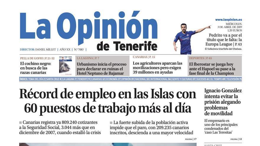 Última portada del periódico ´La Opinión de Tenerife´.