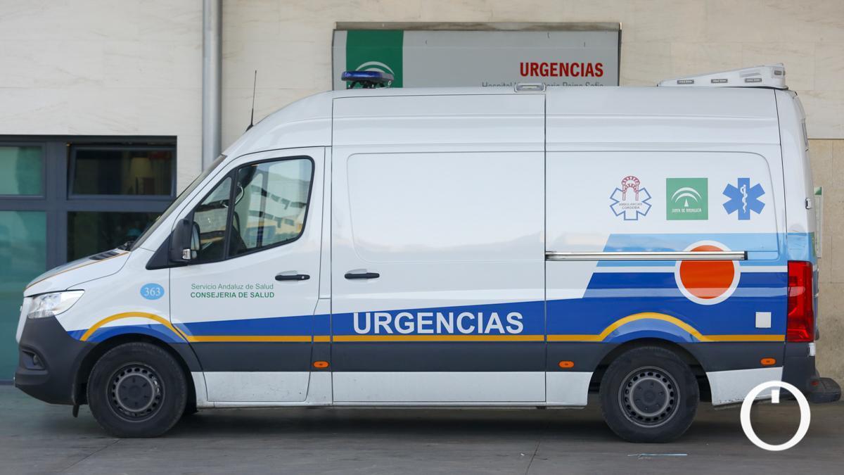 Ambulancia en la puerta de urgencias.