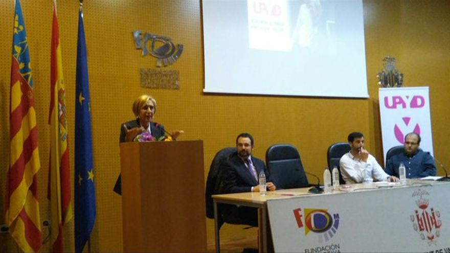 Rosa Díez durante el acto celebrado por UPyD en Valencia este martes