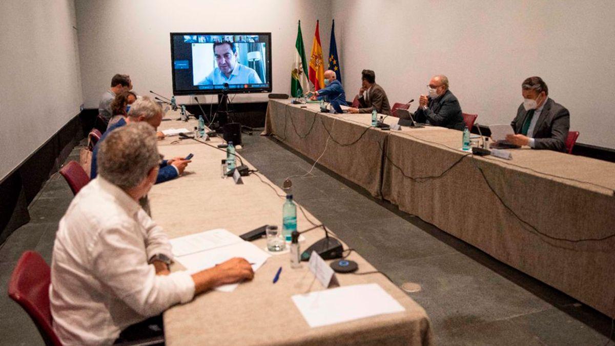 Juanma Moreno preside telemáticamente el comité de expertos sobre Covid de la Junta.
