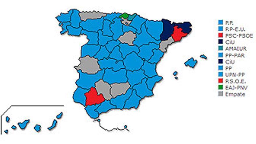 Mapa por circunscripciones electorales. (MINISTERIO DEL INTERIOR)