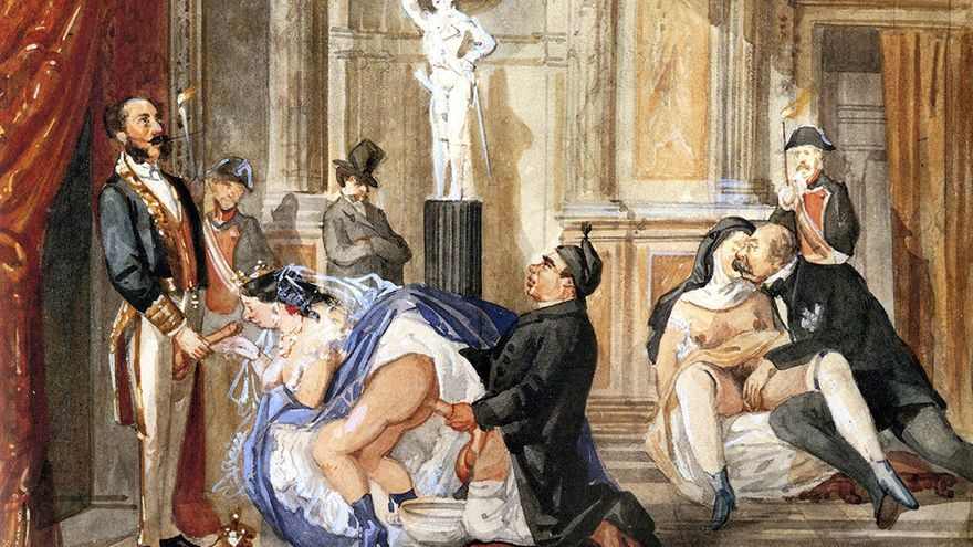 Ilustración satírica de Isabel II de Borbón, atribuida a los hermanos Becquer.