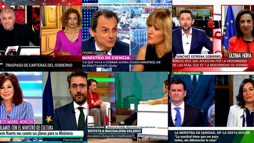 Los ministros de Sánchez toman la TV