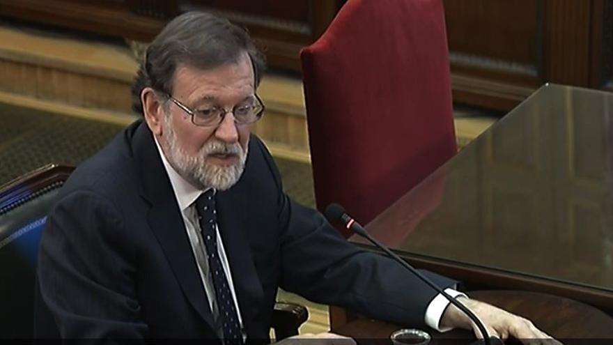 El expresidente del Gobierno, Mariano Rajoy, durante su declaración como testigo en el juicio al procés