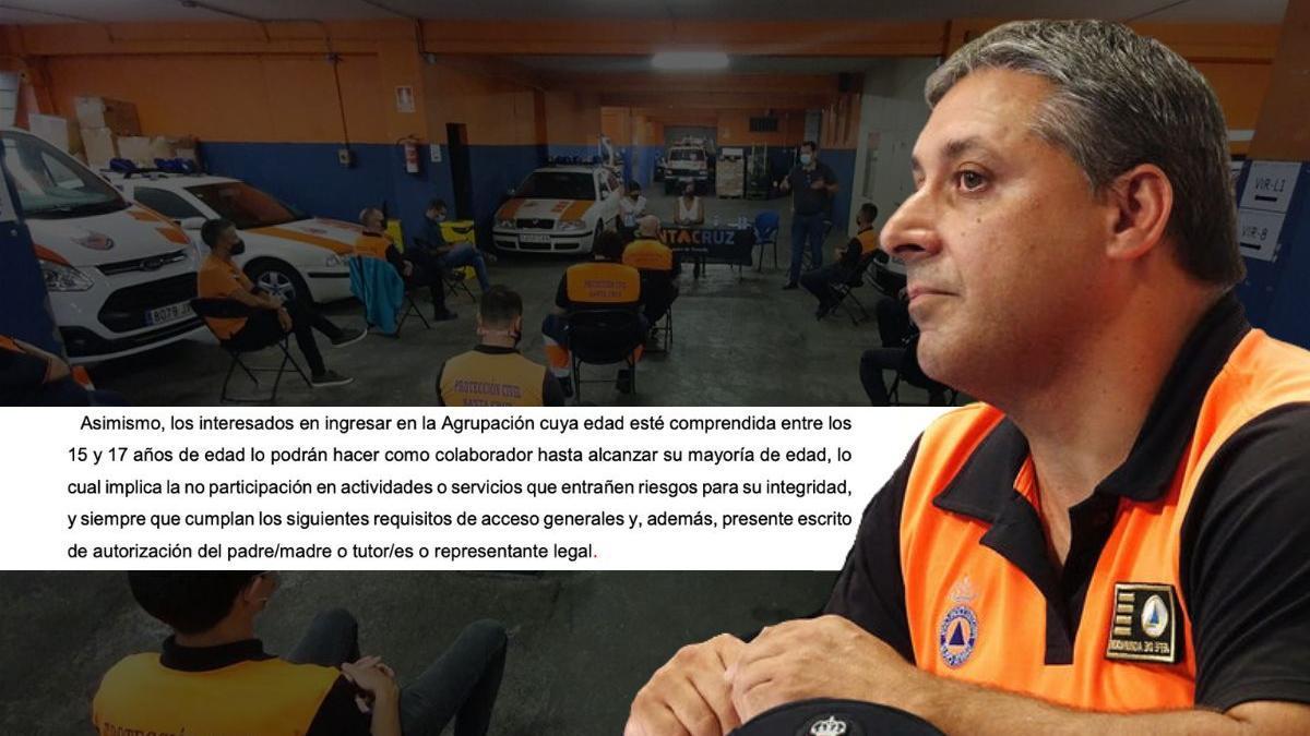 Fragmento del reglamento de Protección Civil de Santa Cruz de Tenerife y el exjefe del cuerpo, Santiago Carlos Martín