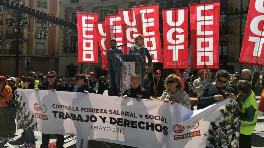 Un momento de la movilización con motivo del 1 de Mayo en Valencia
