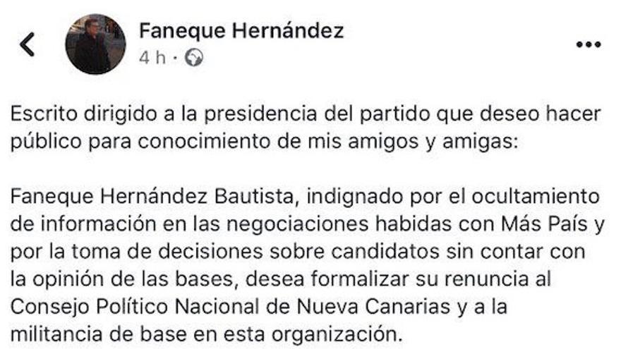 Publicación en Facebook de Faneque Hernández.