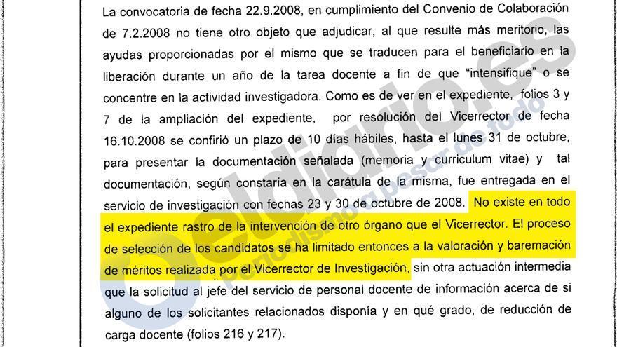 Parte de la sentencia contra la Universidad Rey Juan Carlos