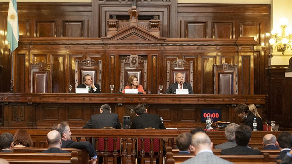 Maqueda, Highton y Lorenzetti, durante las audiencias del caso Farmacity en 2018
