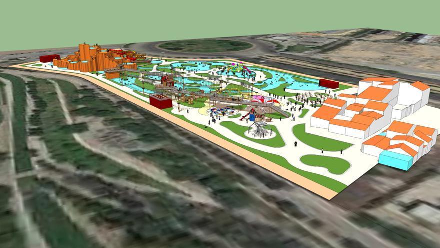 Boceto inicial del parque fluvial que ejecutará Bioparc Valencia
