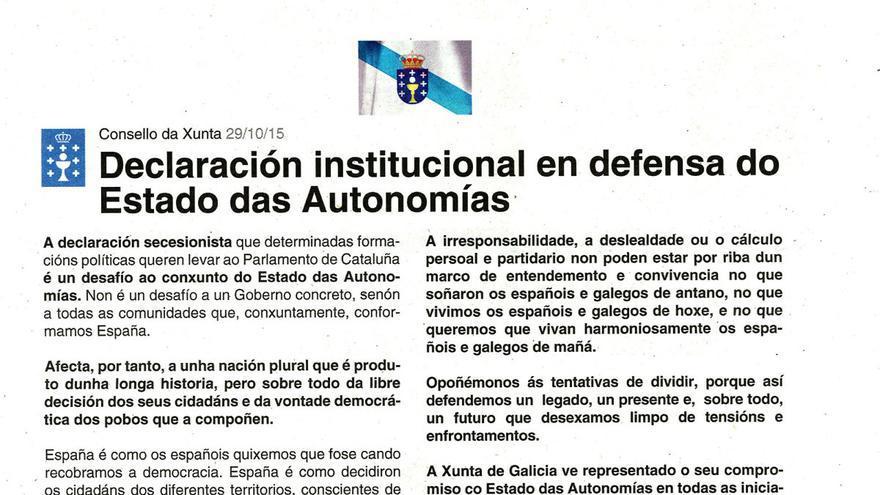 Fragmento del anuncio difundido por la Xunta en varios diarios impresos