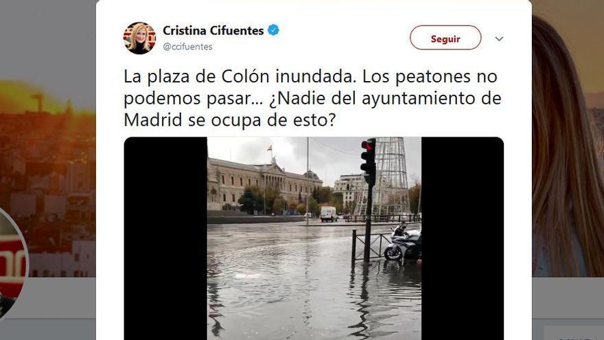 Cifuentes, contra el Ayuntamiento de Madrid por una inundación que es competencia del gobierno regional