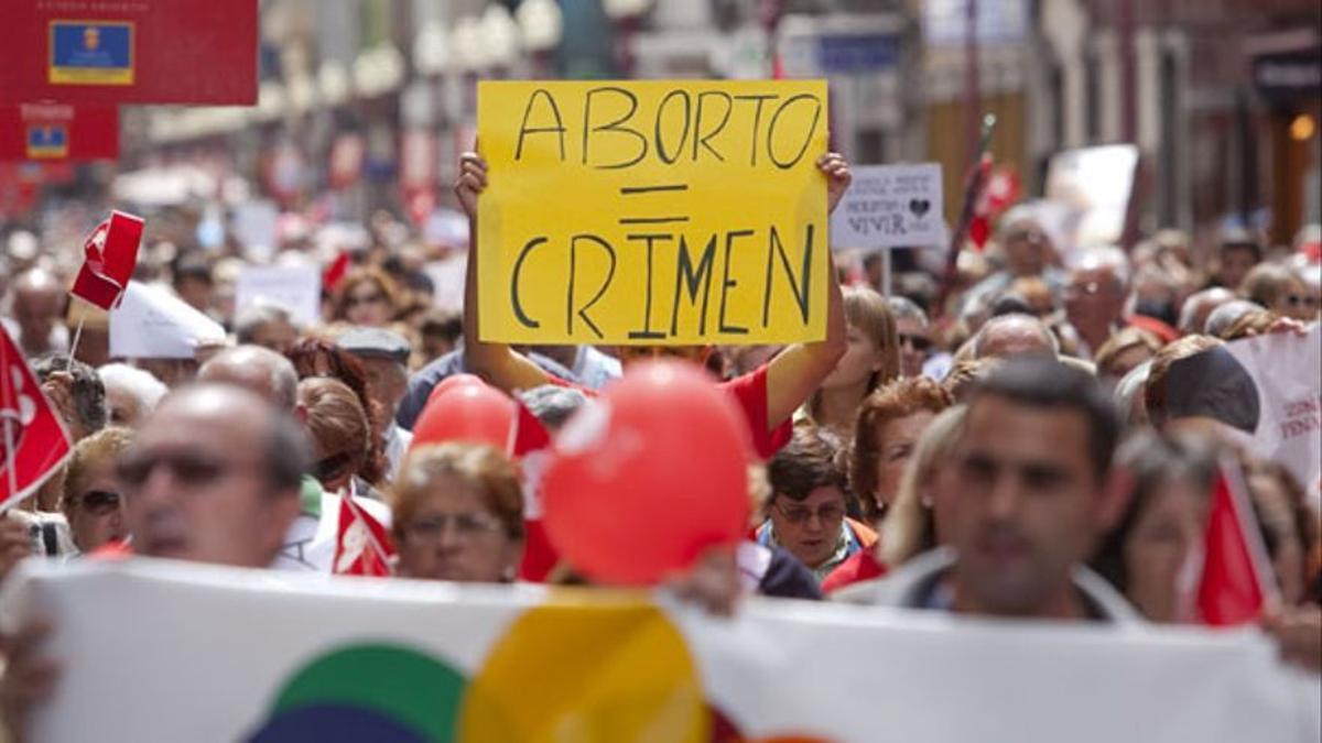 Protesta contra le ley del aborto en 2010, en Gran Canaria.